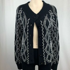 Etcetera Black Cardigan with White Pattern Detail